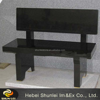 Black granite bench headstone
