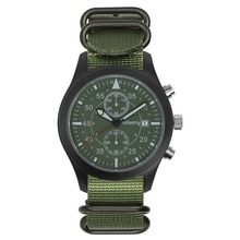 INFANTRY Aviation Black Green Japanese Quartz Stainless Pilot Chronograph Watch