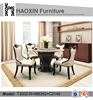 Natural marble top wood dining table and hot sale white chair