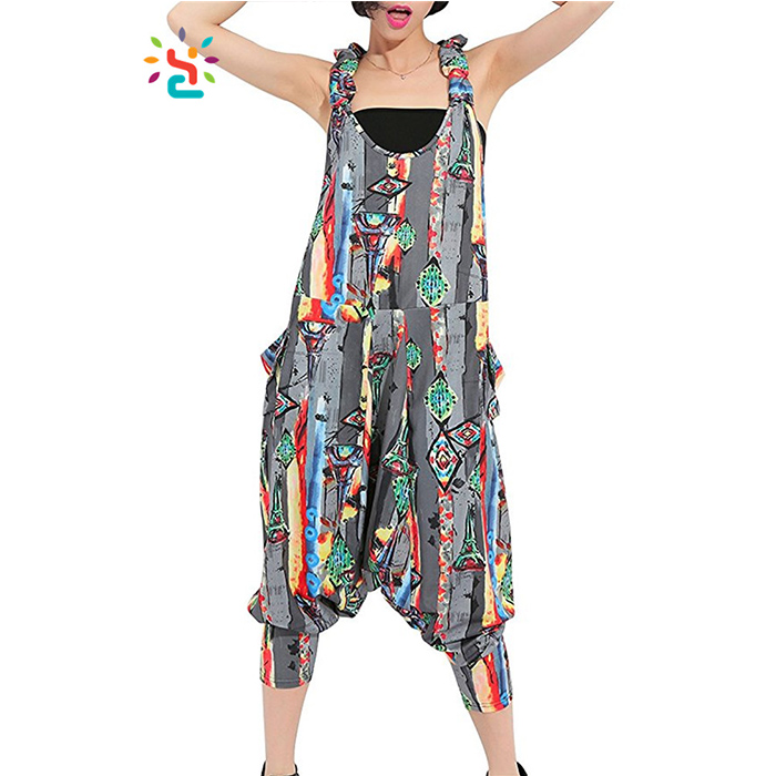 Woman Romper Printing Graffiti Vertical Stripe sleeveless Capri Jumpsuit Girl Harem Romper Women Pants