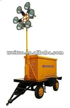 Mobile generating lighting trailer