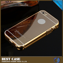 gold aluminum bumper phone case for iphone 4 mirror back cover
