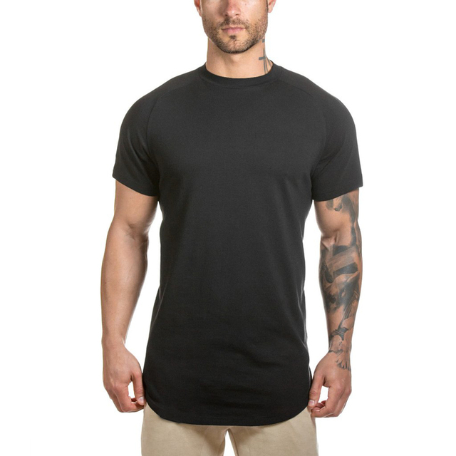 Wholesale 95% cotton 5% spandex short sleeve black t shirt with round hem