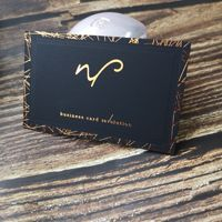 Matte black custom gold foil deboss business card printing