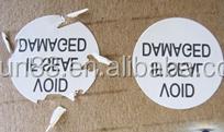 Destructible adhesive label paper, fragile security label, Custom Destructive Warranty Stickers Brittle