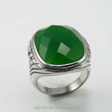 Semi-precious Jade Emerald Faceted Jewelry Stainless Steel Big Stone Fashion Rings