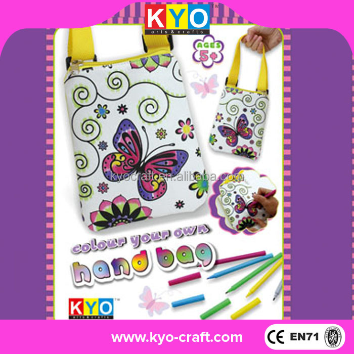 Children DIY painting coloring kit, craft kit colour your own handbag