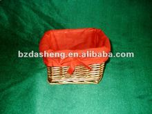 wicker basket with red lining