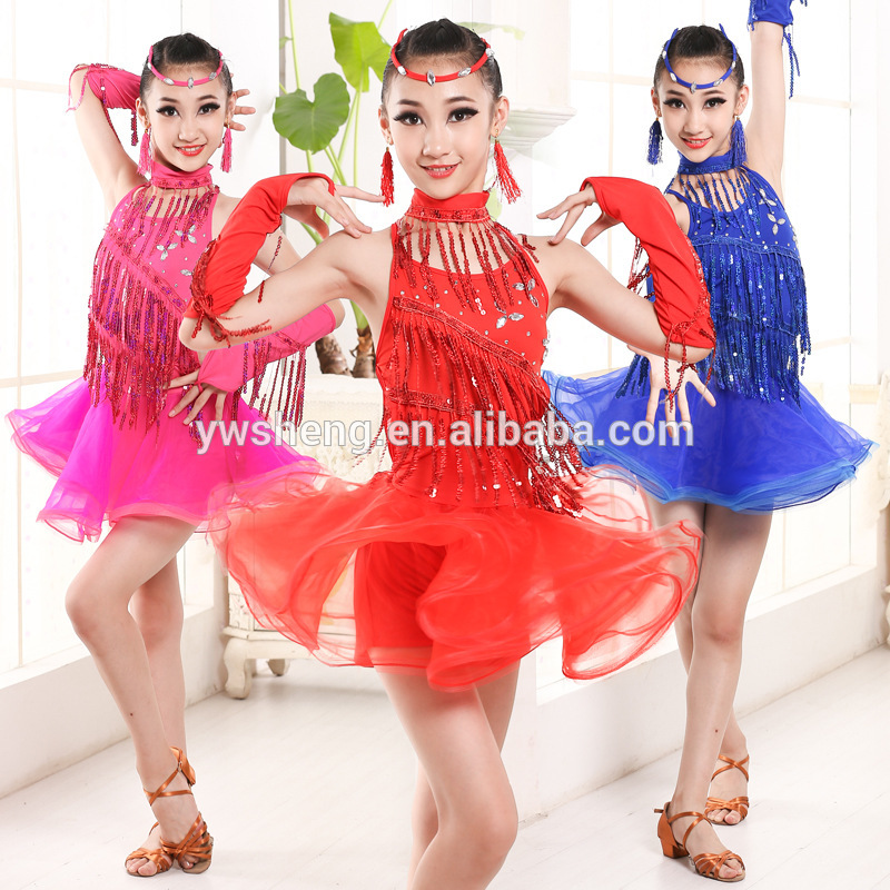 2019 Professional Girls Dance Children Latin Costumes,Fringe Ballroom Salsa Tango Dance Performance Wear