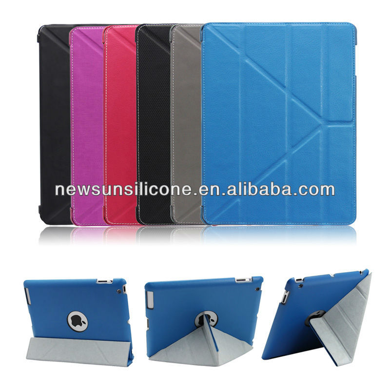 PU leather stand case with sleep and wake up function for ipad