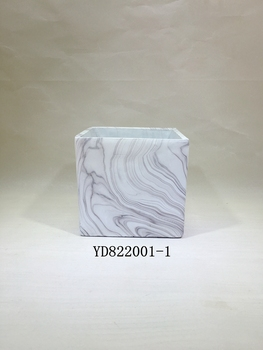 """7"""" pot square marble flower pots"""