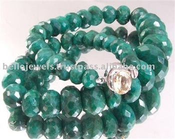 Precious Single Strand Emerald Beads Gemstones Necklace