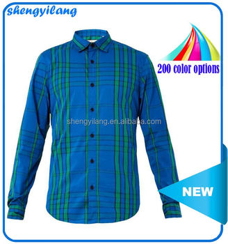 Royal-blue, green and navy graphic check-printing cotton-blend t shirt