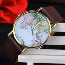 Hot sale Fashion World Map Dress Bracelet watch for lady With Leather Strap