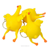 Hot selling creative trick-playing toy yellow soft rubber chicken lays eggs toy, plastic keychain toy
