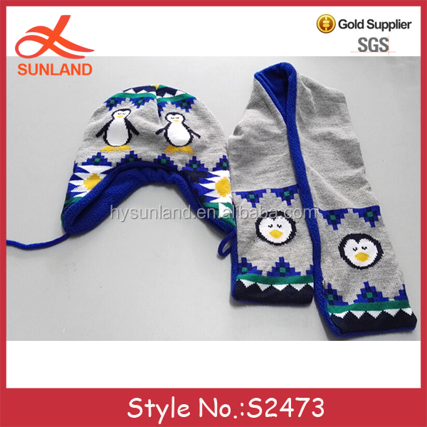 S2473 fashion penguin knitted one piece scarf hat attached wholesale hat and scarf sets