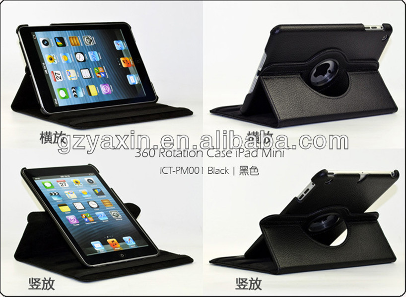 Tablet cover for apple ipad mini protect case / for ipad mini rotation pu case / litchi slim case for ipad mini wallet case