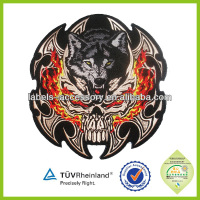 fashion motorcycle wolf embroidery designs