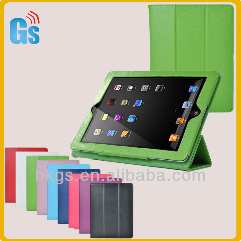 Green leather wake sleep smart cover for ipad 4 case