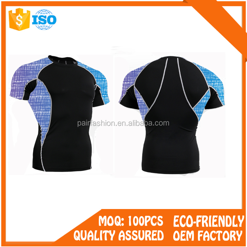 OEM(PairFashion Factory)Sublimation mma lycra rash guard,compression suits