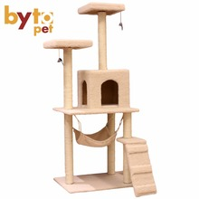 Manufacturer hot sale pet toys scratcher tower house condo hammock castle furniture cat tree