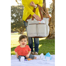 fashionable white and grey canvas stripe trendy baby diaper bags with changing mat mummy bag