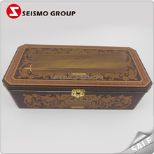 Metal Hinge Lock Candy Storage Vintage Custom Embossed Tin Box