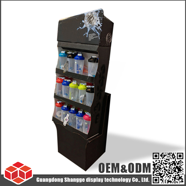 Custom manufacture large retail store advertising floor cardboard water bottle display stand