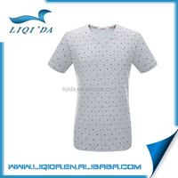 2016 New custom dot design 100 polyester v neck t shirt for men