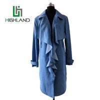 2017latest fashion designs denim cotton long coat spring wind coat for ladies plus size pleated coats
