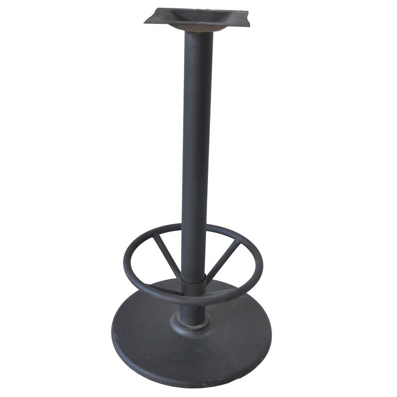 Classic Cast Iron Bar Table Base With Foot Rest, Black Metal Bar table legs