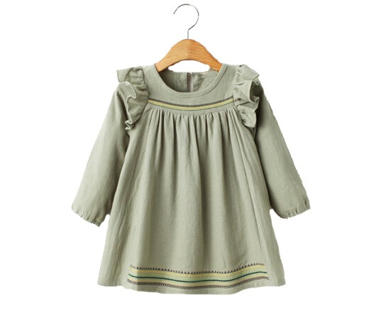 Hot clothing manufactures kids long sleeve ruffle dress