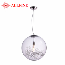 Simple Modern Style Single Metal Glass Lamp Shade Pendant Light Lamp