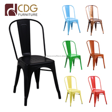 Colorful stackable furniture metal wedding dining chairs, restaurant cafe metal chair
