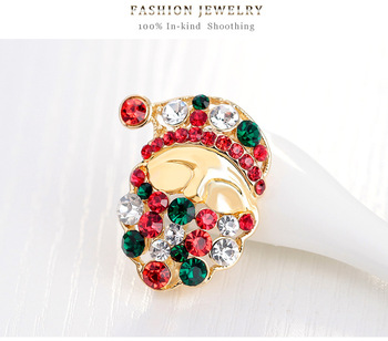 Hot Sale Colorful Crystal Rhinestone Christmas Brooch Gold Plated Santa Face Christmas Brooches