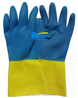 Double Color Flock Lined Long cuff OEM Green Latex Rubber Coated Chemical Resistant Construction Gloves
