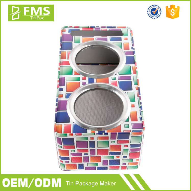 Custom Made Full Color Printed Decorative Metal Speaker Tin Box, Soundbox Tin Box