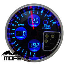 "Original Logo 120mm 5"" Black Face with Blue LCD Tachometer With Volt + Water Temperature Temp + Oil Pressure PSI Meter Gauge"