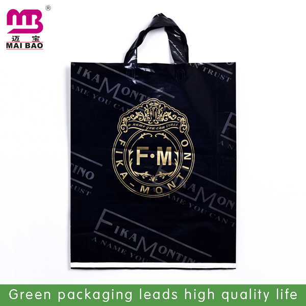 customized Flexible Loop Handle Plastic Bag for daily life shopping.