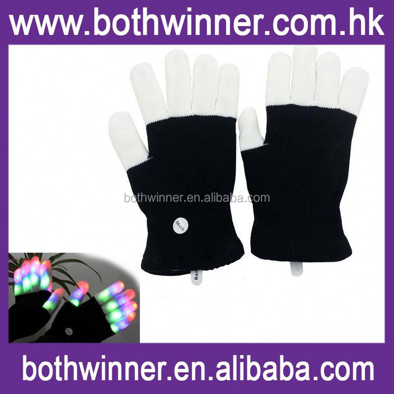 Led halloween party gloves ,H0T451 cotton led gloves party , wholesale 12 colors led glove