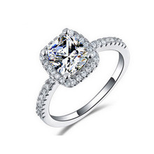 Wholesale High Quality Fashion Rings Cushion Cut Engagement Wedding Rings Cubic Zircon MOONSO Jewelry AR466S Reseller