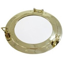 Large Solid Brass Porthole Mirror