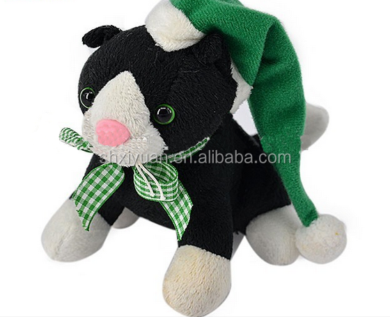 Hot selling cute plush musical cat toys stuffed promotion christmas cat