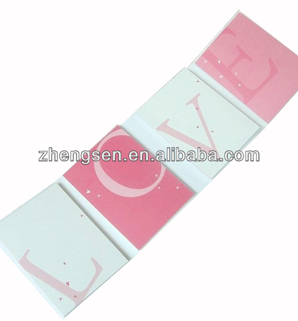 Letter combination memo pad for LOVE