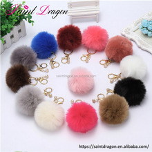 cute pom pom pearl pendants rabbit fur car keychain bag accessories for girls