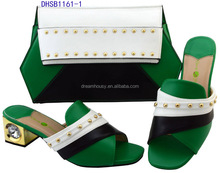 DHSB1161-1 Green distinguished color shoes matching bag ladies evening clutch bags and crystal pearl