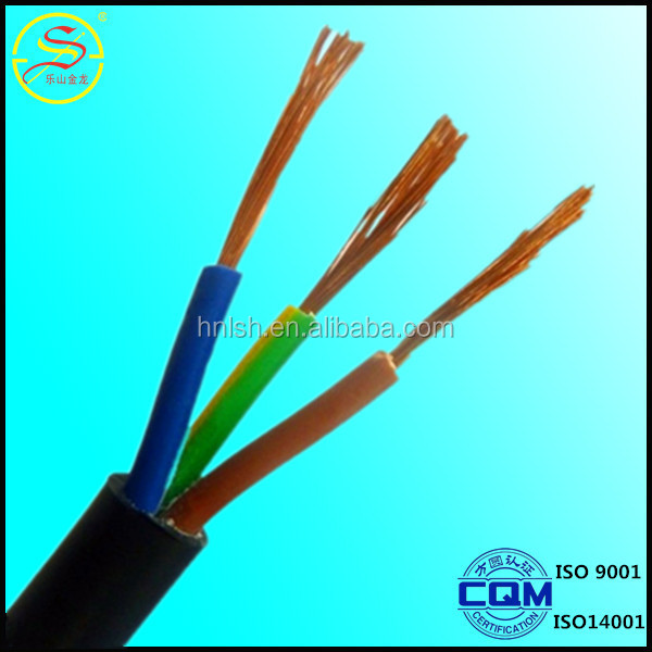 high quality Copper core PVC insulation and sheath RVV 3 core flexible cable with factory competitive price