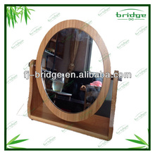 2-side rotating eco friendly fashionable bamboo bathroom accessories sets oval stand mirror make up mirror