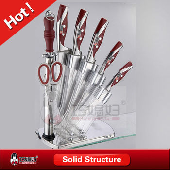 High quality 8pcs kitchen knife set with plastic block for Gambar kitchen set high quality