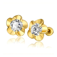 2017 Fashion Cheapest Jewelry 3 Gram Gold Beautiful Designed Earrings Small Flower Diamond Earrings for Girls